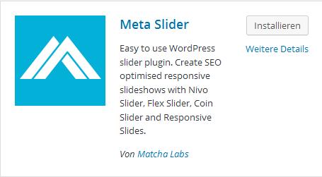 Meta Slider installieren